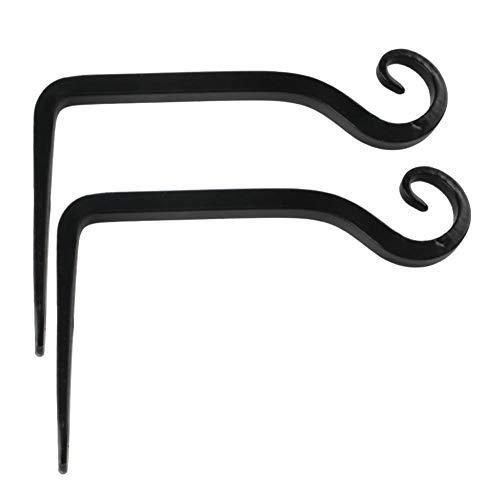 CHELIZI Gancho de hierro para cesta de flores, color negro, 15,2 x 10 cm, gancho para colgar lámpara de queroseno para jardín y balcón