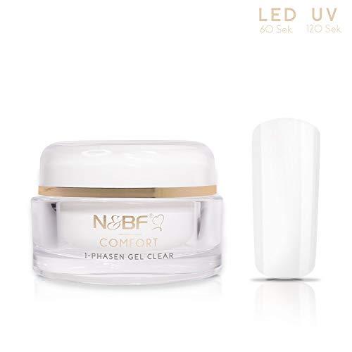 N&BF UV+LED 1-Phasen-Gel Comfort Line Klar | 15ml hochwertiges Profi 3-in1 Gel | Professionelles Allrounder Nagelgel für Grundierung, Aufbau und Versiegelung | Made in Germany