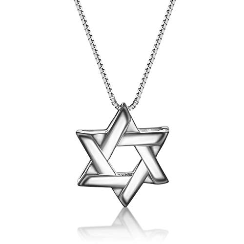 Solid Silver Jewish Star of David Necklace for Bar Mitzvah Gifts, Men...