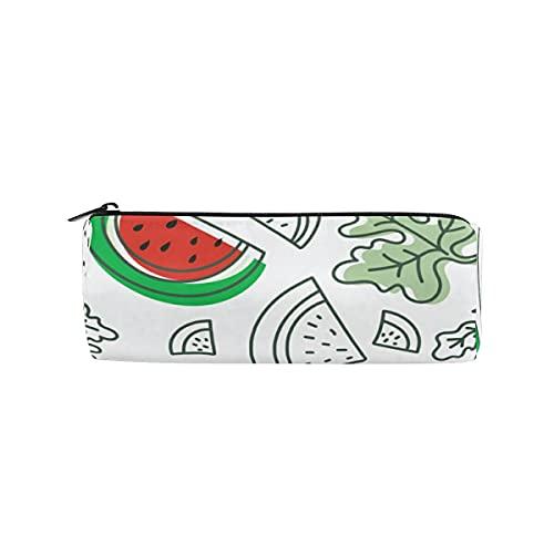 ISAOA - Estuche para lápices con forma de sandía y hojas, redondo, bolsa de almacenamiento para bolígrafos, ideal para niños, estudiantes u oficiales, bolsa de maquillaje de viaje