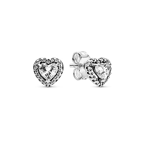 Pandora Timeless Women's Sterling Silver Elevated Heart Cubic Zirconia Stud...