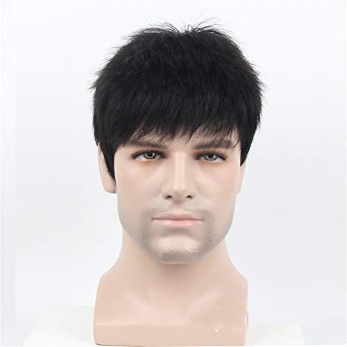 Herren Perücke Echt Menschliches Haar Kurz Natürlich Aussehend Welle Haar Schwarze Farbe Voll Perücke Toupet für Männer
