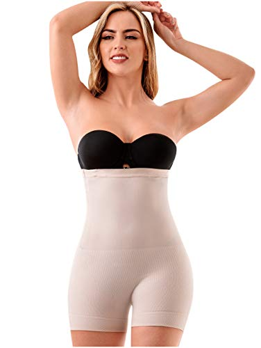LT.Rose 21882 High Waisted Panty Girdle Calzones Levanta Cola Colombianos Beige