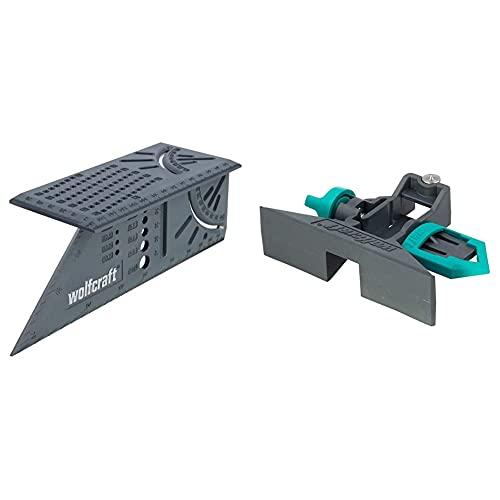 Wolfcraft 5221000 gramil para metros plegables, para trazar y dibujar piezas de trabajo PACK 1, Negro y verde + 5208000- Escuadra (Regla) 3D