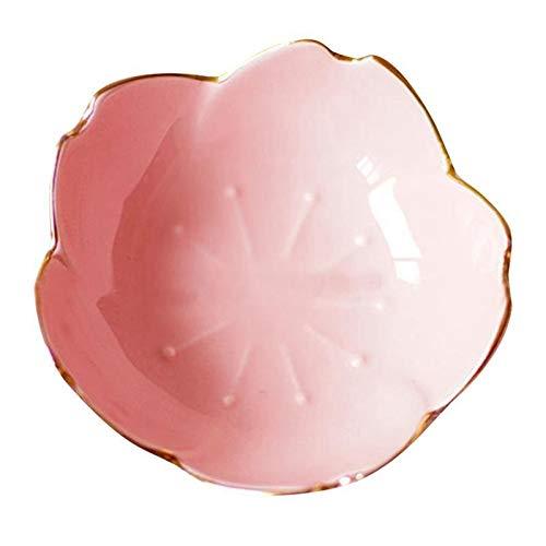 1 plato de cerámica pequeño de polígono redondo, cuadrado, estilo japonés, color salsa, plato de condimento (color: rosa)