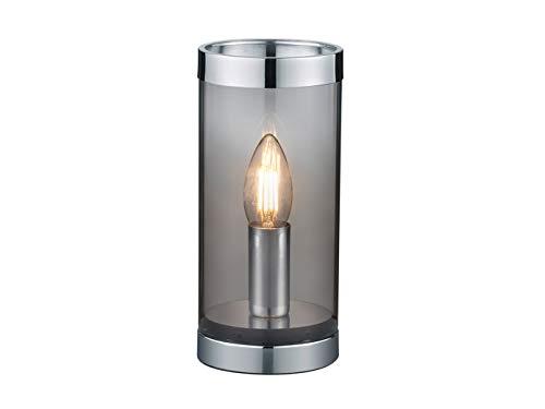 LED Tischlampe Zylinder - Kleine Tischleuchte rund Ø10cm 22cm hoch - Nachttischlampe 1 flammig aus Rauchglas