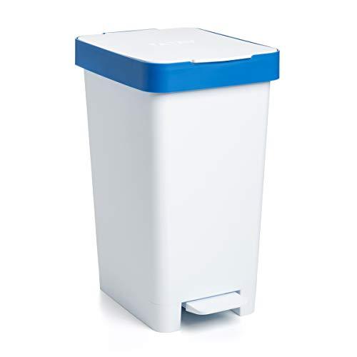 Tatay Cubo de Basura para Reciclaje, Blanco y Azul, Mediano
