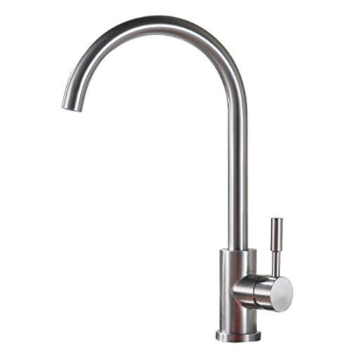 Grifo de cocina giratorio 360°, grifo para cocina con agua fría, grifo de fregadero de acero inoxidable, caño alto, grifo de fregadero en elegante diseño, color gris