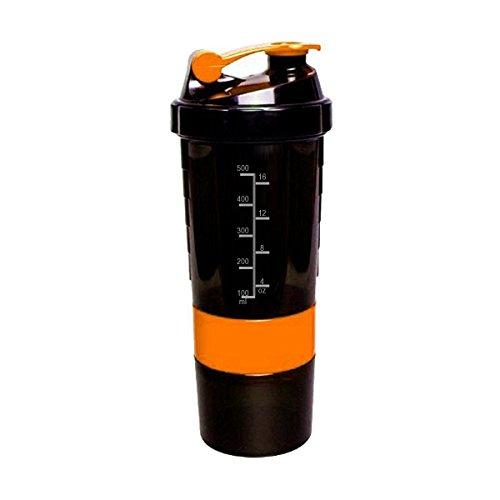 Spider Bottle - Professional Container Shaker (Eat Sleep Pump) - Black & Neon Orange - 500ml (plus 2 X 120ml Pillenfach)
