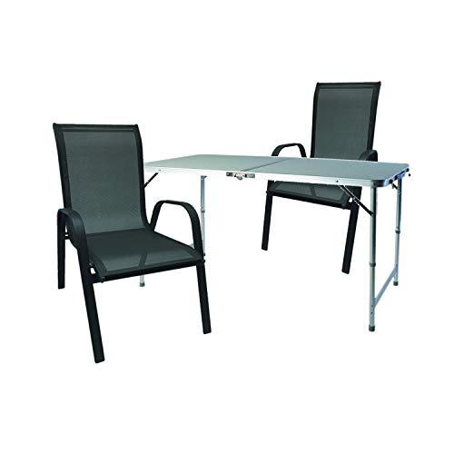 Mojawo Multistore 2002 - Juego de mesa y sillas apilables (3 piezas, 120 x 60 x 58/70 cm, altura regulable), color negro y gris