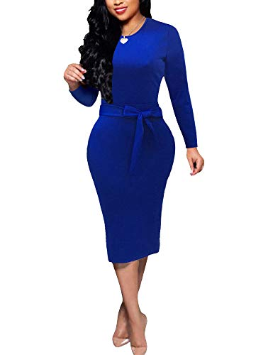 Bodycon Dresses for Women - Cute Bowknot Short Sleeve Slim Fit Solid Pencil Dress (Large, B - Blue)