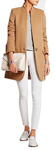 Women's Simple Stand Collar Slim Fit Blazer Woolen Jacket Coat Camel M
