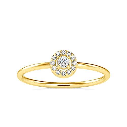 REAL-GEMS - Anello di fidanzamento da donna con diamanti naturali 0,10 ct, taglio brillante, in oro bianco giallo rosa, Pietra,