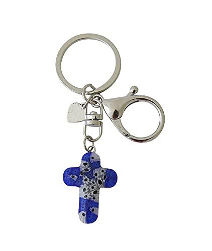 Sleutelhanger met kruis van Murano-glas donkerblauw