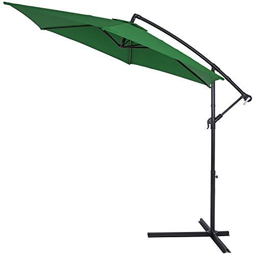 Kingsleeve Sonnenschirm grün 300 cm Groß Knickbar Wasserabweisend Kurbel Ampelschirm Garten Terrasse Balkon Gartenschirm