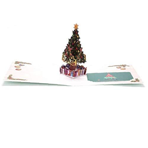 Hotaden Frohes Neues Jahr 3D Weihnachtsbaum Geschenke Karte Postkarte Merry Xmas Pop-Up-Karte Feiertags-Kind-Geschenk