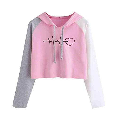 Sudadera con capucha para mujer y adolescente con diseño de corazón con diseño de latido de corazón, manga larga, ligera, ideal para regalo