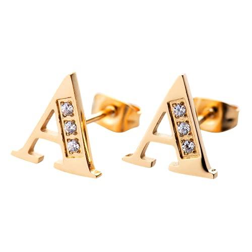 LuckyLy Aretes Mujer Oro 18k de Iniciales Letras con Zirconia Cúbica, Base de Acero Inoxidable – Joyería y Accesorios ideales como Regalos para Mujer Originales Cumpleaños, Modelo Tina