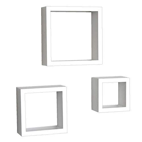 3 Cubes ÉTAGÈRES pour Chambre DE Bois Blanc avec Veins 3CBI