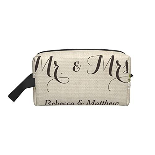 Bolsa de maquillaje de moda para cosméticos, bolsa de viaje rústica de encaje de arpillera floral Mr and Mrs boda grande bolsa de aseo organizador de maquillaje para mujeres