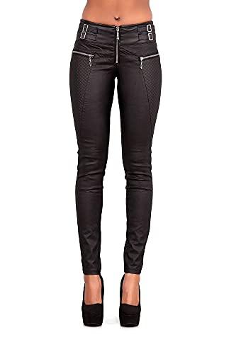 Crazy Lover Damen Kunstlederhose Leder Look Hosen Biker Stretch Skinny Jeans (40, Schwarz)