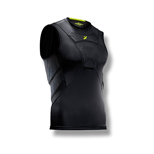 Storelli BodyShield Sleeveless Undershirt | Protective Soccer Base Layer | Lightweight Compression Top | Padded Chest and Rib Protection | Black | Medium