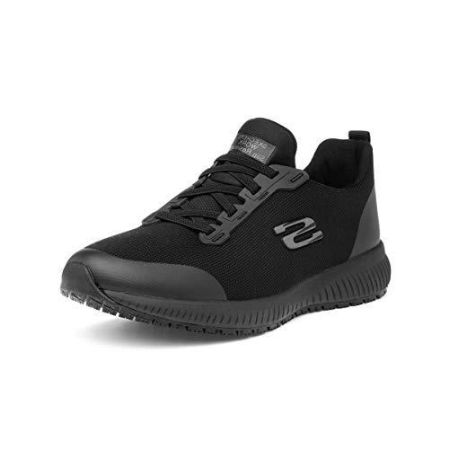 Skechers Squad Sr, Zapatos de Trabajo Mujer, Negro (Black Flat Knit Black), 39 EU