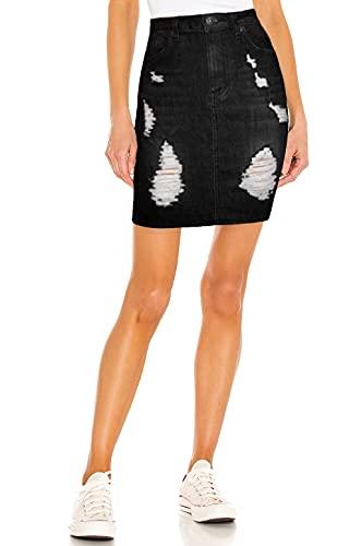 Womens Super Comfy Stretch Denim Skirt SKS22895 Black 12