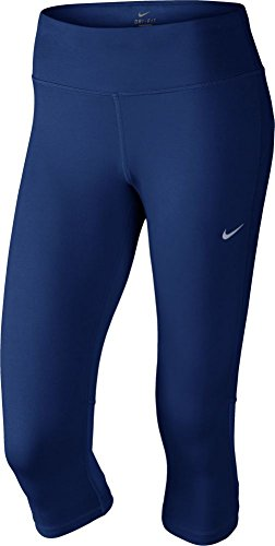 Nike Damen DF Epic Run Capri Leggings, Blau/Silber, XS
