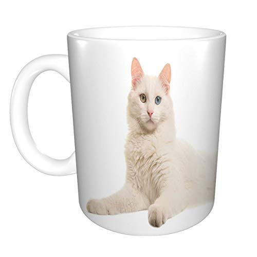 Coffee Mug Tea Cup White 11 Oz Ceramic white turkish angora odd eye cat lying down seen