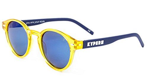 KYPERS Manhattan Gafas de sol, Clear Yellow - Ice Blue Mirror, 49 Unisex