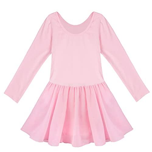 IEFIEL Vestido de Danza Ballet para Niña Maillot Manga Larga de Patinaje Artistico Vestido Unicornios de Danza Moderna Disfraz de Bailarina Niña Rosa A 5-6 años