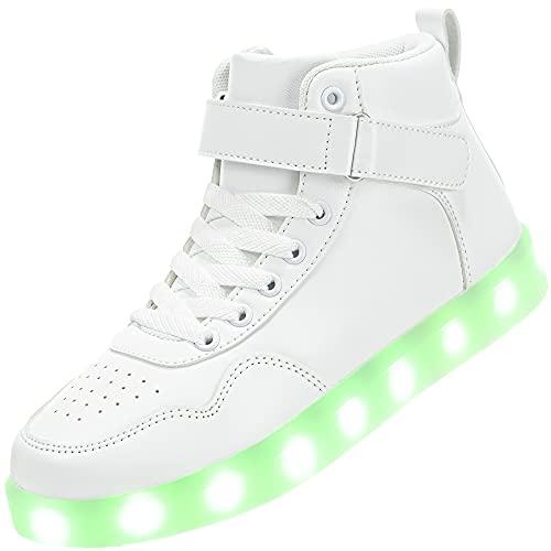 APTESOL Kinder LED Schuhe High-Top Licht Blinkt Sneaker USB Aufladen Shoes für Jungen und Mädchen [Weiß,30]