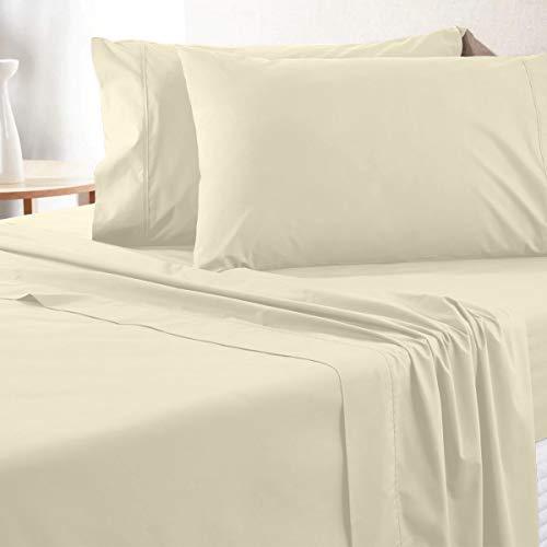 Bettwäsche-Set aus ägyptischer Baumwolle, Fadenzahl 700, 100 prozent Baumwolle, Queen-Size-Bettlaken, tiefe Taschen, weiches & seidiges Satingewebe, elfenbeinfarben