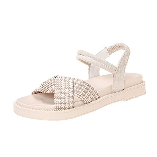 i-Found Sandalias planas de tiras de verano para mujer, sandalias casuales ajustables con sandalias de gladiador de punta abierta (negro 2), color Beige, talla 39 EU