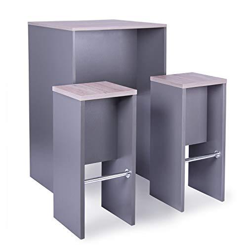 Meeting-Point Stehtischset – Stehtisch Meeting Tisch + 2 Hocker anthrazit, Eiche modern | Stehtisch H110 x B70 x T70 cm | Steharbeitsplatz |...