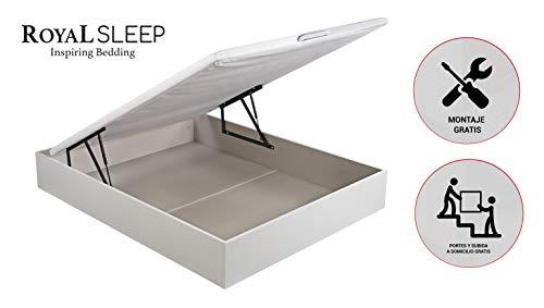 ROYAL SLEEP Canapé Abatible (150x200) de Gran Capacidad, Tapa 3D Transpirable, Color Blanco