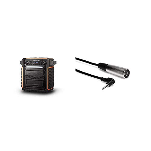ION Audio Raptor | Ultra-Portable 100-Watt Wireless Water-Resistant Speaker & Hosa XVM-110M Right Angle 3.5 mm TRS to XLR3M Microphone Cable, 10 Feet