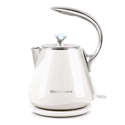 Elite Gourmet EKT-1203W Double Wall Insulated Cool Touch Electric Water Tea Kettle BPA Free Stainless Steel Interior and Auto Shut-Off, 1.2L, White Ivory