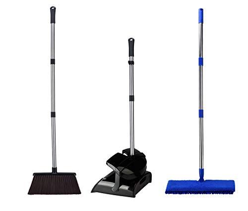 TODOHOME Flach Schwenkbarer Doppelseitiger Mopp, Besen und Staubwanne für die Hausreinigung—Edelstahlpolen/Erweiterbare Länge/Entwickelt für Nass- und Trockenfegen