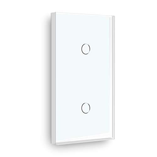 BSEED interruptor tactil 1 Gang 2 Vías+ 1 Gang 2 Vías,interruptor táctil de pared Blanco con indicador LED, interruptores de luz pared con con panel de vidrio templado
