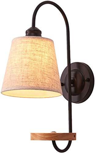 Luces de pared / Dormitorio de la lámpara de noche con pantalla de tela de la lámpara, lámpara de lectura ligera de la pared rústica con la plataforma de almacenamiento de madera, la pared interior Ne