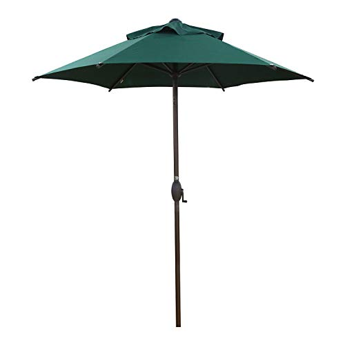 Abba Patio 7.5ft Patio Umbrella Outdoor Umbrella Patio Market Table Umbrella with Push Button Tilt and Crank for Garden, Lawn, Deck, Backyard & Pool, Green