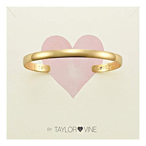 Pulsera de piedras de amor secreto grabado I Love You con circonita cúbica, por Taylor y Vine