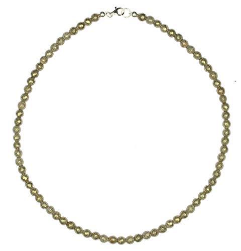 Pyrit Schmuck (Halskette) Pyrit Kette Kugeln facettiert Verschluss 925er Sterling-Silber Modellnummer 4411