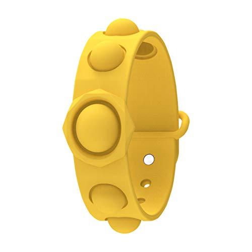 3Pcs Pulsera sensorial de Fidget, Juguetes de muñeca de burbujas de alivio de estrés, pulsera portátil Pulsera de manos Pulsera de silicona Pulsera de silicona para adultos Niños Adhd Añadir,Amarillo