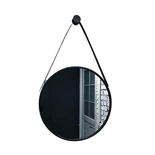 Espejo de pared circular decorativo redondo con marco de metal para tocador creativo, espejo de maquillaje HD con correa para colgar en el salón o dor