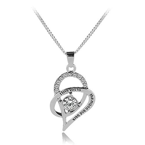 ZYLL Collar de clavícula de Cristal en Forma de corazón de Moda Collar Colgante de Color Plateado para Mujer Collar de Regalo del día de la Madre