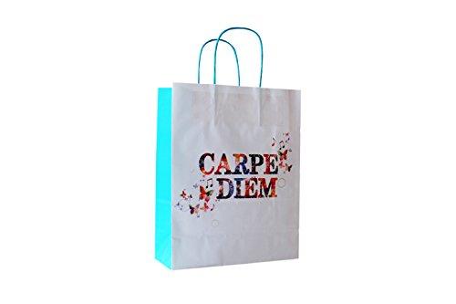 Papiertragetaschen mit Blauer Kordel Motiv: Carpe Diem 22 + 10 x 28 cm (50 Stück)