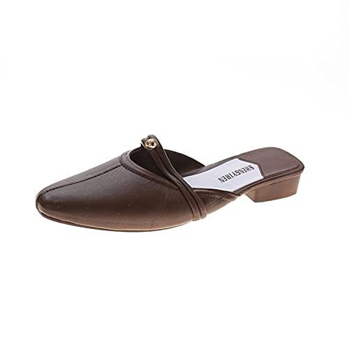 Sandalias Mule para mujer de moda, ligeras, sin cordones, con punta puntiaguda, antideslizante, para zapatos, Brown, 38 EU
